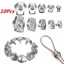 Us Stock 10pcs 2mm 304a2 Stainless Steel Wire Rope Simple Grip Cable Clamp