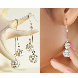 Fashion-Womens-Silver-Plated-Crystal-Ear-Stud-Earrings-Hook-Dangle-Jewelry