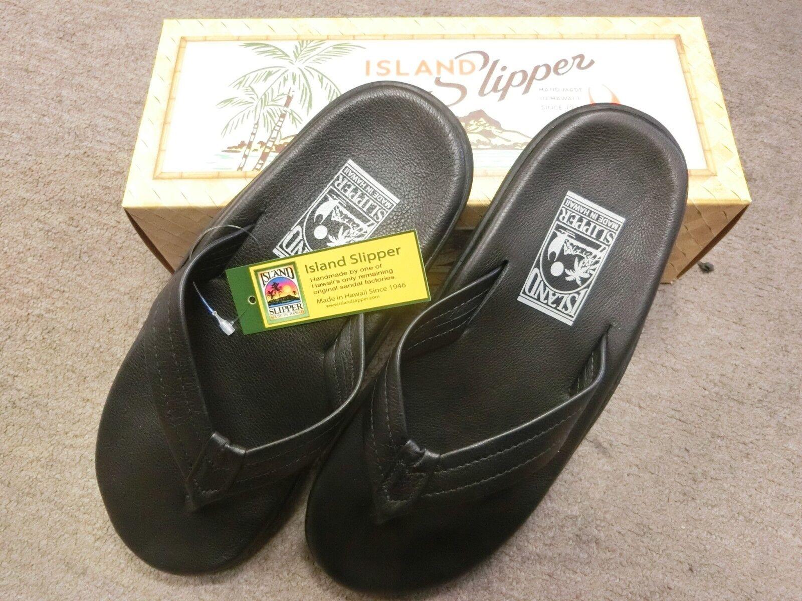 Island Slipper Slipper Slipper Leather Sandal Dimensione 9 nero  PB202 New a33ca9