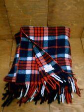 Vintage Horner Wool Tartan Plaid Throw Blanket Red Cream Blue USA Americana