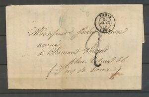 25-Janvier-1849-Lettre-Cachet-a-date-PARIS-60-Taxe-2d-X3160