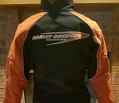 Women's Harley Davidson black/orange jacket, size S Small