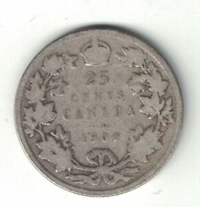 CANADA-1904-25-CENTS-QUARTER-KING-EDWARD-VII-CANADIAN-STERLING-SILVER-COIN