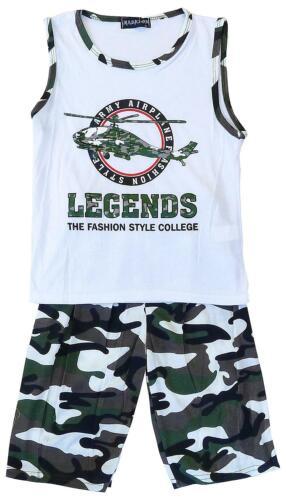 Garçons Legends ARMY HELICOPTER Débardeur /& Camo Shorts Set 2 To 10 ans