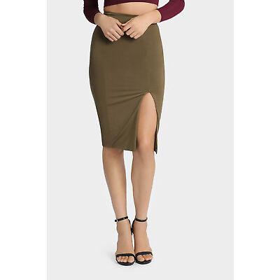 NEW Tiger Mist Kelly Midi Slinky Skirt Khaki