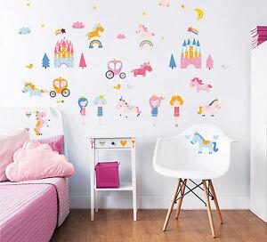 Beautiful Das Bild Wird Geladen Walltastic Wandsticker Einhorn Maerchen Kinderzimmer  Wandtattoo Schloss Kutsche