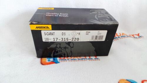 "New Mirka 17-315-220 S-Carat 5/"" 5 H PSA 220 Grit Disc"