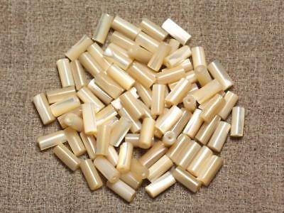 Fil 39cm 95pc env Perles de Nacre blanche irisée Boules 4mm