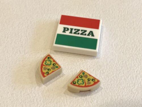 Lego Printed 2x2 Tile Takeaway Pizza Box P//N 29716 /& 2 Quarter Pizzas NEW A06
