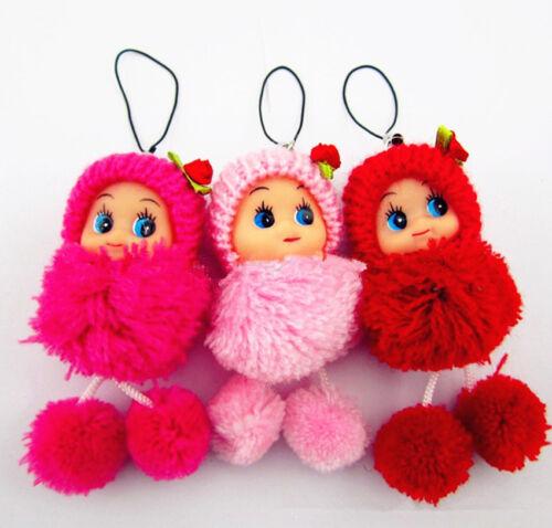 New Cute Baby Key chains Doll Fluffy PomPom Bag Decor Keyrings  Key Ring