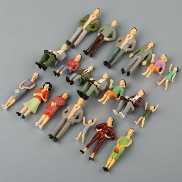 20pcs 1:25 Building Model Train Railroad Passenger Painted People Figures Scale