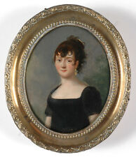 """""""Portrait of a young lady"""", French oil on tin miniature, 1815/20"""