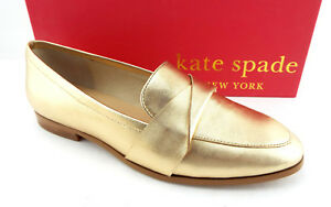 1f4a2846dd9 New KATE SPADE Size 7 SATCHI Gold Metallic Loafers Flats Shoes