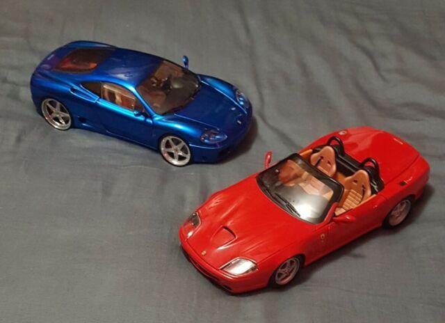 🔶️2x FERRARI 550 BARCHETTA RED 360 MODENA BLUE HOT WHEELS WHIPS BOX 1:18