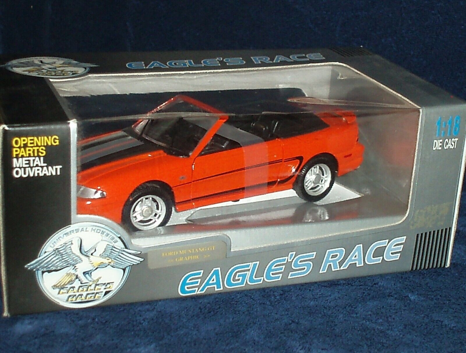 EAGLE'S RACE 1994 FORD MUSTANG GT CONV 1 18 Orange BLK INTERIOR & TRIM NIB
