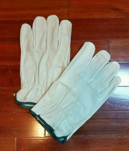 2 Pair Of Medium Cow Hide For Gardening Leather Work Gloves Trucking etc