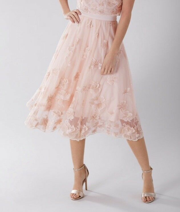 BNWTCoastSize 18 Neive bluesh Lace Floral Prom Bridesmaid Weddings Skirt New
