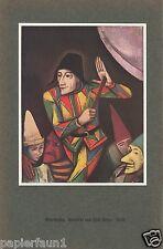 Maskerade Kunstdruck von 1930 Clown Karl Hofer Entartete Kunst Karneval Kostüm