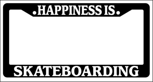 Black License Plate Frame Happiness Is.. Skateboarding Auto Accessory Novelty