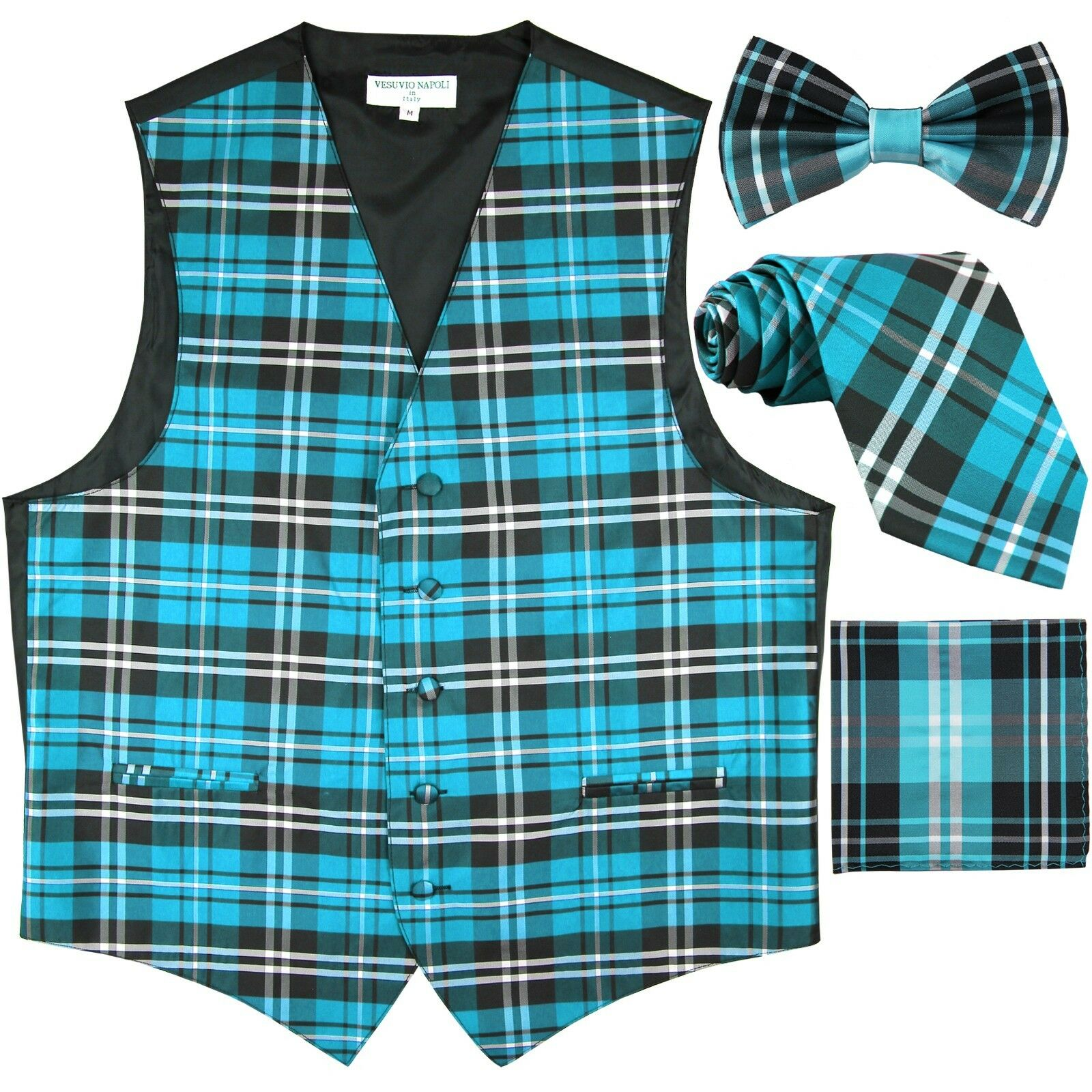 New Men's Tuxedo Vest Waistcoat_Necktie Bow tie & Hankie Set Turquoise blue prom