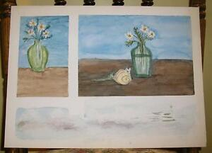 VINTAGE SHABBY DAISIES ROSE STILL LIFE CHIC DISTRESS FOLK ART PRIMITIVE PAINTING