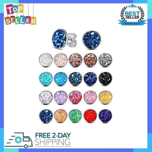 Stainless Steel Druzy Round Stud Earrings Set For Girls Anti-Sensitive 20 Pairs