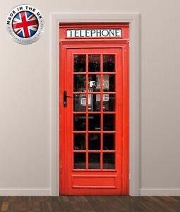 DS6 RED PHONE BOX DOOR FRIDGE CUBOARD SKIN COVER STICKER WRAP SCENERY VIEW MURAL