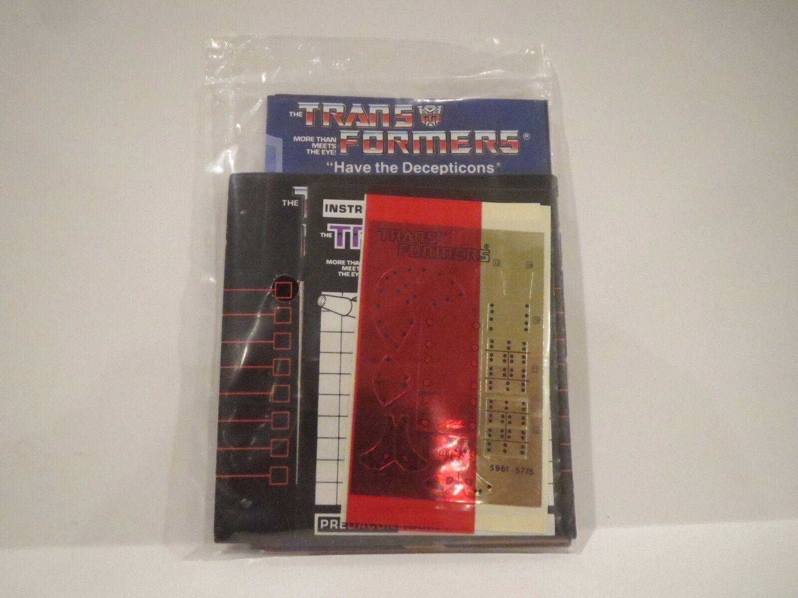 Vintage G1 Transformers Rampage Sealed paperasse-Autocollants tous Original Prougeaking