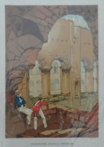 Antique-lithograph-print-Rochester-castle-Interior-Leighton-Bros