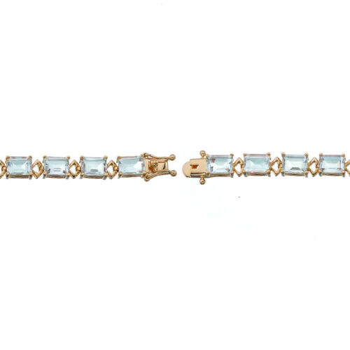 15 cttw Emerald Shape Green Amethyst Bracelet Yellow Gold Plated 7.5 Inches