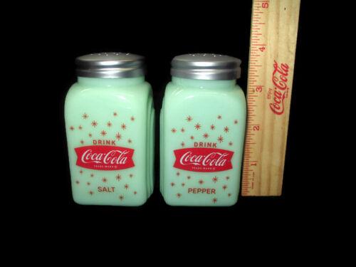 Coca-Cola Salt and Pepper Shaker Jadeite Glass Depression Style Stars BRAND NEW
