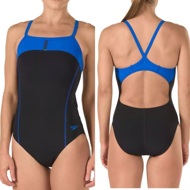 f90451aafd Speedo Womens Swimsuit 28 PowerPlus Bolt Splice Drill Back Black Royal Blue  $74