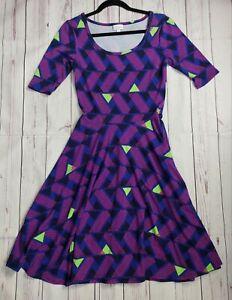 Lularoe Nicole Dress Size 4/6 Small Geometric Blue Pink lime