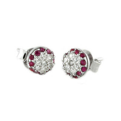 Sterling Silver 925 Dome Floral Setting Design CZ Stud Earrings