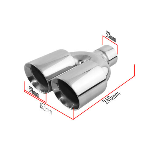 Slant Cut Dual exhaust tip for Double Wall Stainless Steel car exhaust 2.5 IN