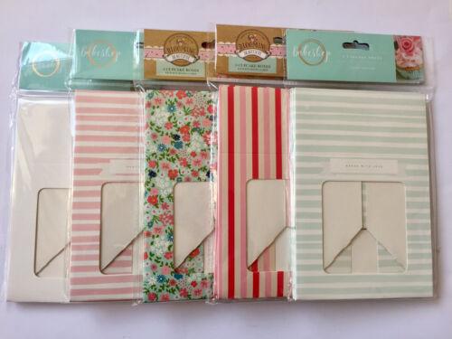 3XCUPCAKE BOXES-BOX HOLDS 4 CAKES-VINTAGE//STRIPE//FLORAL//PLAIN//PINK//BLUE-WINDOW