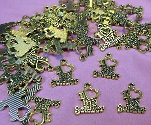 50 GOLD METAL CHARMS WITH SAYING-I LOVE MY SOLDIER-MILITA<wbr/>RY-DROPS-JEWEL<wbr/>RY MAKING