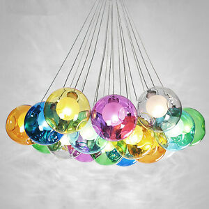 Color bubble glass ball 737 led pendant lamp chandelier ceiling image is loading color bubble glass ball 7 37 led pendant aloadofball Choice Image