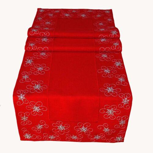 Tischläufer 40x140 cm mit Motiv Kristallsterne rot-silber Weihnachten Advent