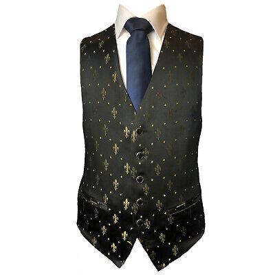 MENS WEDDING BLACK GOLD DIAMOND DRESS SUIT WAISTCOAT FREEPOST FREE DELIVERY
