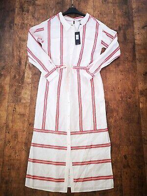 Tommy Hilfiger White Red Stripe Maxi Midi LINEN Shirt Dress size UK 6 - 8 USA 2 | eBay