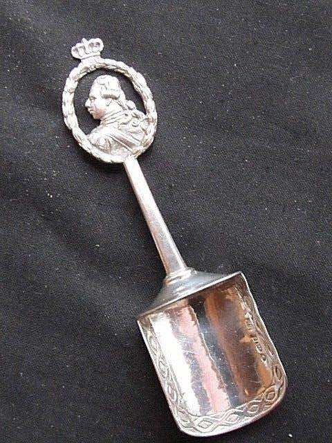 Cuillère à sucre antique Argent massif Berthold Muller 1909 Roi anglais couronne