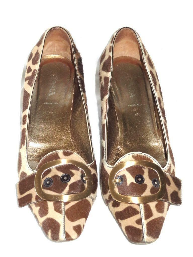 PRADA Leopard Pony Hair Brown  Buckle and Gold Heel Pumps  Brown 40 a4e824