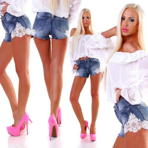 4949 Voluptueuse Jeans Femmes-Shorts Denim Short Pantalon Court Hot Pants Dentelle