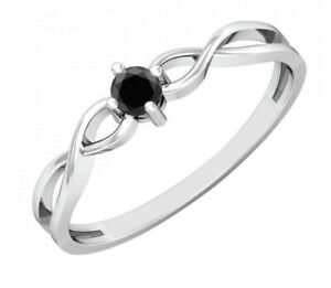 1.75 Carat 925 Sterling Silver Round Shape Natural Black Diamond Solitaire Ring