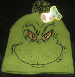 Details about Green Dr Seuss How The Grinch Stole Christmas Face Sequins  Eyes Pom Beanie Hat d025911301c