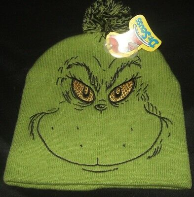 Green Dr Seuss How The Grinch Stole Christmas Face Sequins Eyes Pom Beanie Hat
