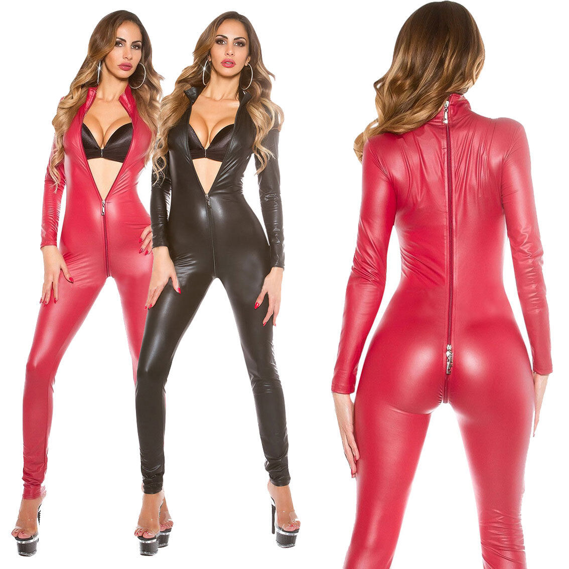 Ladies PVC Leather Zipper Catsuit Bodysuit Costume Clubwear Jumpsuit Cosplay