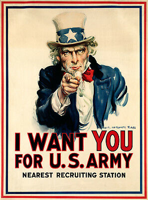 A3 A2 I Want You U.S A4 sizes A1 Army Recruitment Vintage Art Deco Poster