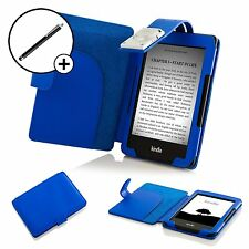 De Cuero Azul Smart Funda Protectora Con Luz Amazon Kindle (7th Gen 2014) + Stylus